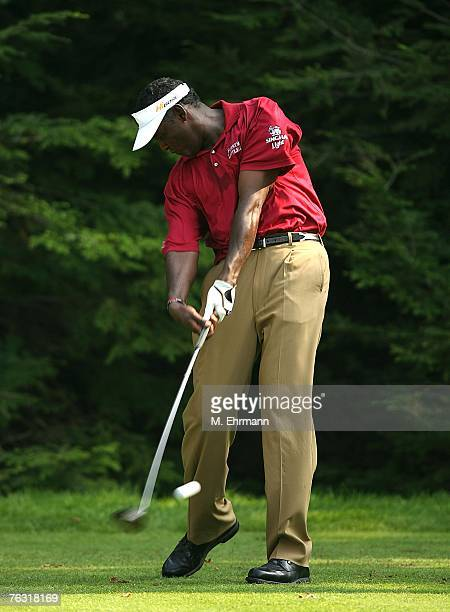 Vijay Singh of Fiji swings on the 13th hole during the second round of The Barclays, the inaugural event of the new PGA TOUR Playoffs for the...