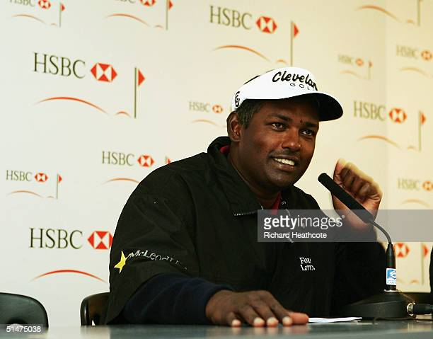 Vijay Singh of Fiji talks to the press during the ProAm at the HSBC World Match Play Championship at Wentworth Golf Club on October 13 2004 in...