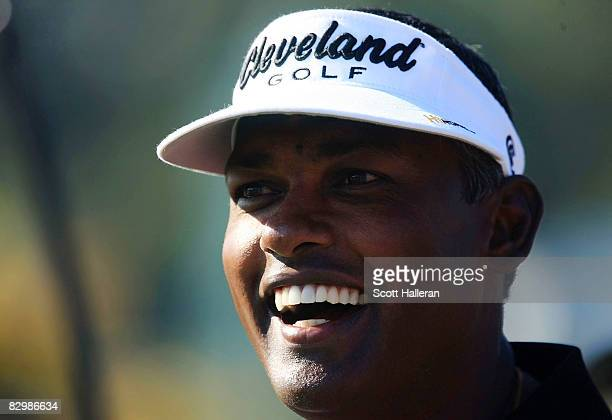 Vijay Singh of Fiji the current leader in FedEx Cup points conducts a clinic prior to the start of The Tour Championship at the East Lake Golf Club...