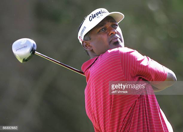 Vijay Singh of Fiji watches his drive during the third round of the Bell Canadian Open on September 10, 2005 in Vancouver, British Columbia.