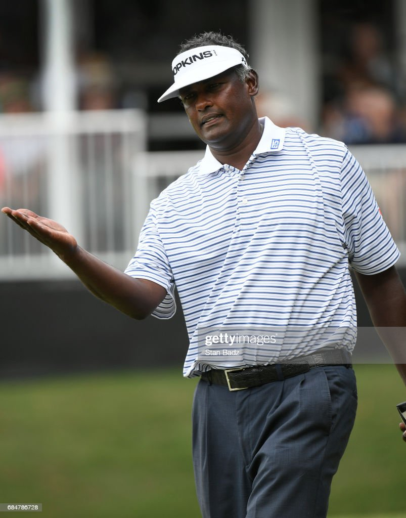 Vijay Singh reacts to his putt on the 18th hole during the first round of the PGA TOUR Champions Regions Tradition at Greystone Golf & Country Club on May 18, 2017 in Birmingham, Alabama.