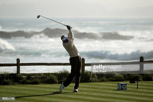 Vijay Singh tees off on the 18th hole during round three of the ATT Pebble Beach National ProAm at Pebble Beach Golf Links on February 13 2010 in...
