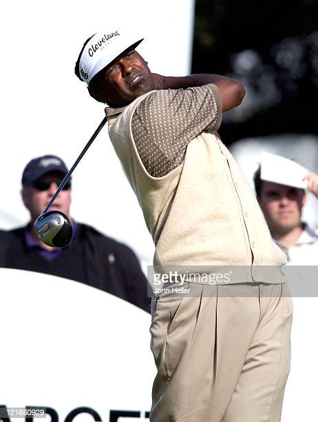 Vijay Singh tees off on the tenth tee during 2003 Target World Challenge Presented by Williams Pro Am at Sherwood Country Club in Thousand Oaks...