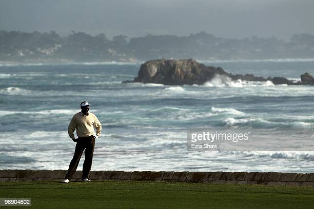 Vijay Singh waits to his his second shot on the 18th hole during round three of the ATT Pebble Beach National ProAm at Pebble Beach Golf Links on...