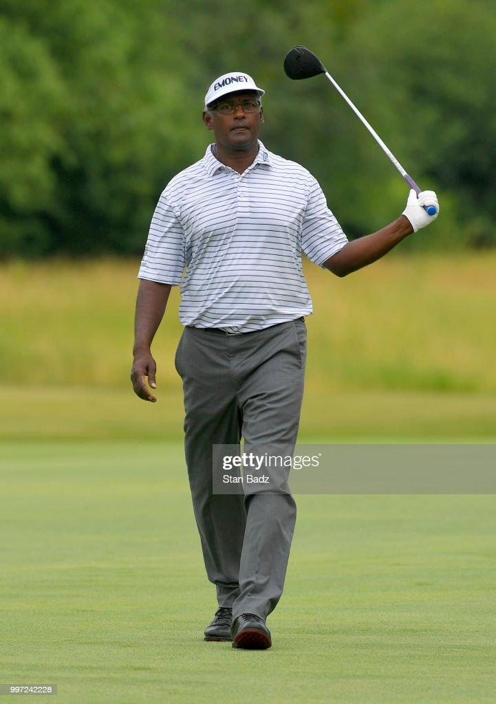 Vijay Singh walks along the second hole during the first round of the PGA TOUR Champions Constellation SENIOR PLAYERS Championship at Exmoor Country Club on July 12, 2018 in Highland Park, Illinois.