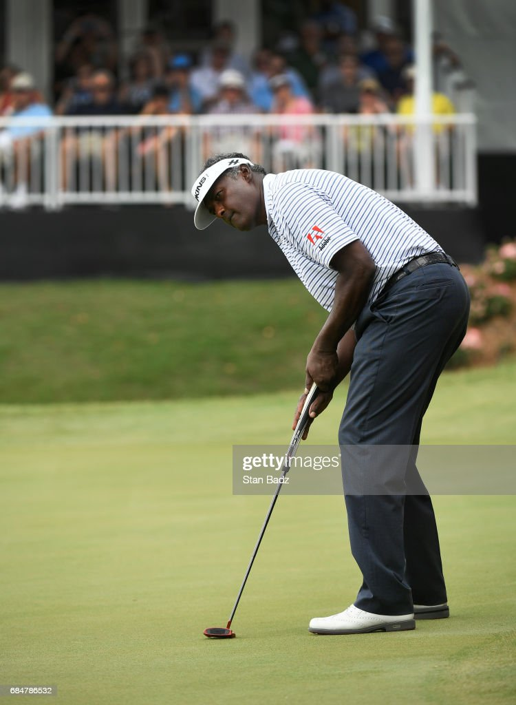 Vijay Singh watches his putt on the 18th hole during the first round of the PGA TOUR Champions Regions Tradition at Greystone Golf & Country Club on May 18, 2017 in Birmingham, Alabama.