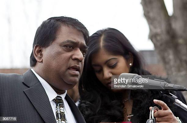 Vijay Walebar, brother of sniper victim Premkumar Walekar, and Andrea Walekar, daughter of Premkumar, speak to the media after John Allen Muhammad...