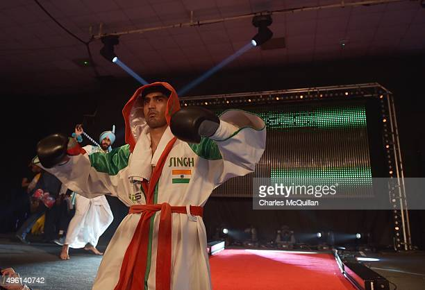 Vijender Singh pictured as he makes his way into the ring before his middleweight bout with Dean Gillen on The Second Coming boxing bill at the...