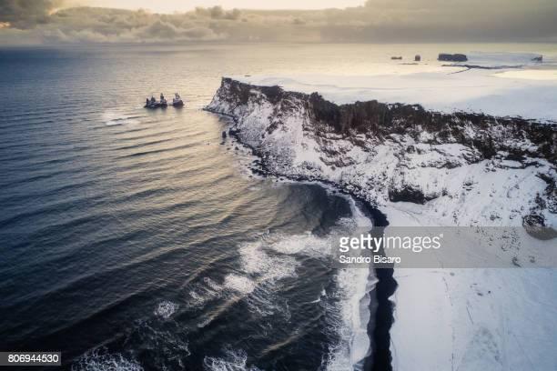 Vik beach aerial view