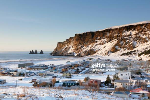 vik, in iceland, during winter. - general view stock pictures, royalty-free photos & images