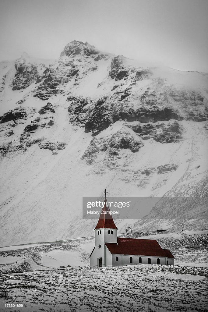 Vik í Myrdal Church : Stock Photo