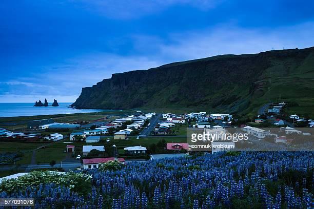 Vik village at midnight time in summer, Iceland.