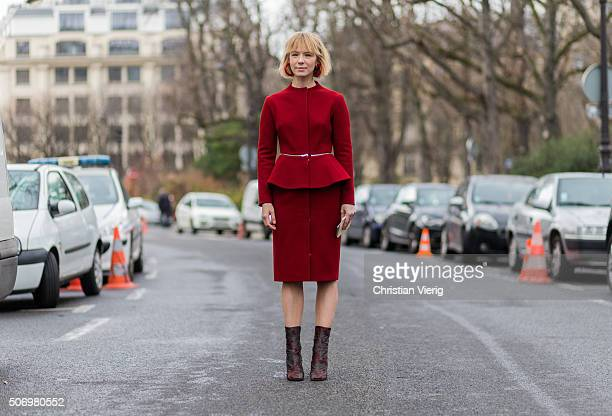 Vika Gazinskaya outside Chanel during the Paris Fashion Week Haute Couture Spring/Summer 2016 on January 26 2016 in Paris France