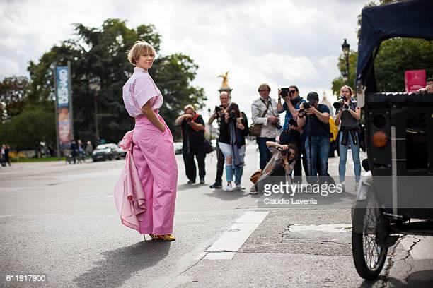 Vika Gazinskaya poses after the Mugler show on day 5 of Paris Womens Fashion Week Spring/Summer 2017Êon September 30 2016 in Paris France