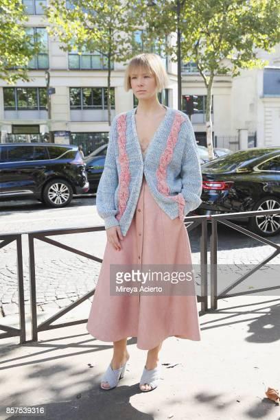 Vika Gazinskaya seen during Paris Fashion Week Womenswear Spring/Summer 2018 on October 3 2017 in Paris France