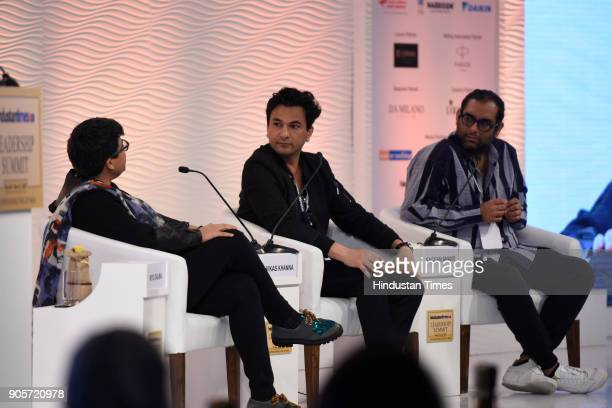 Vikas Khanna Chef Author and Filmmaker and Gaggan Anand Chef and Restaurateur in conversation with Ritu Dalmia Chef and Restaurateur during the...