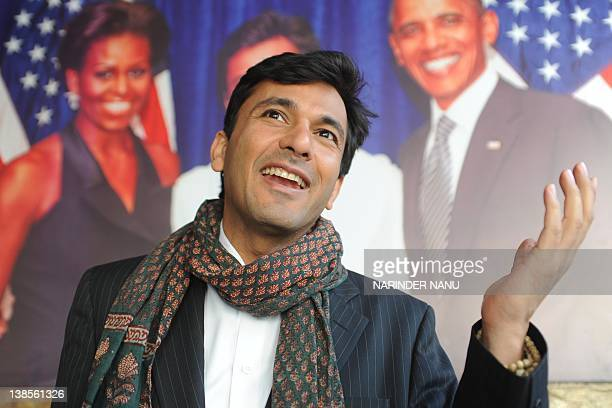 Vikas Khanna master chef India host and executive chef of Junoon restaurant in New York addresses the media during a press conference in Amritsar on...