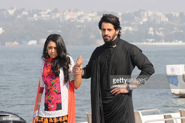 Vikas Manaktala and Niti Taylor lead actors of the Life OK show Gulam during a promotion programme at Upper Lake on January 11 2017 in Bhopal India