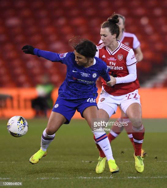 Viki Schnaderbeck of Arsenal challenges Sam Kerr of Chelsea during the FA Women's Continental League Cup Final Chelsea FC Women and Arsenal FC Women...