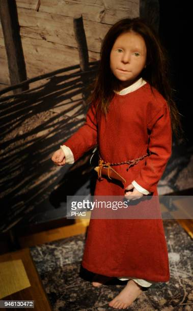 Viking Age Birka girl Died at the age 6 years 10th century Sculpture with the reproduction of its appearance Historical Museum Stockholm Sweden