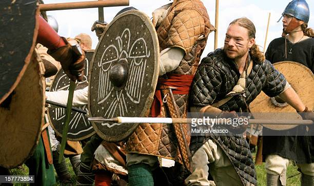 viking battle - historical reenactment stock photos and pictures