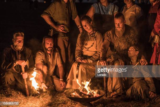 viking campfire - reenactment stock photos and pictures