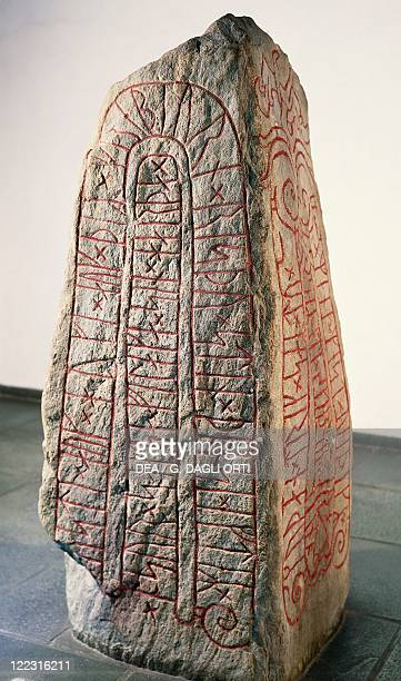 Viking civilization Runestone with Futhark inscription