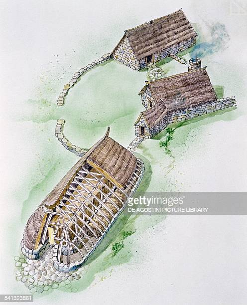 Viking farm in North Yorkshire consisting of three houses with a shiplike shape drawing Viking civilisation 8th11th century