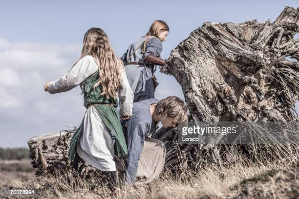 viking female children in the highlands - northern european stock pictures, royalty-free photos & images