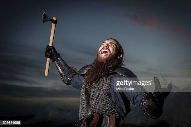 viking fighting on cliffs of palos verdes, california, usa - historical reenactment stock photos and pictures