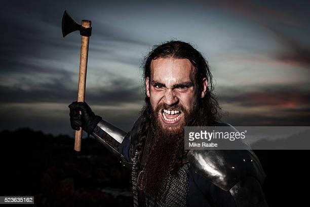 Viking fighting on cliffs of Palos Verdes, California, USA