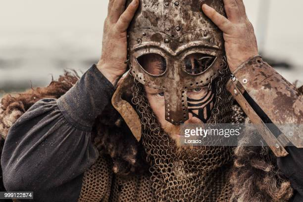 viking helmet and equipment - medieval stock photos and pictures