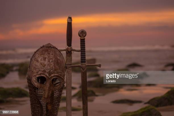 viking helmet and equipment - barbarian stock photos and pictures