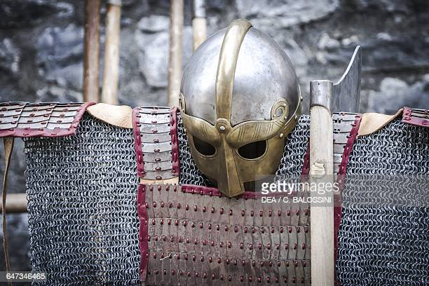 Viking helmet ax and light armour Scandinavia 10th century Historical reenactment