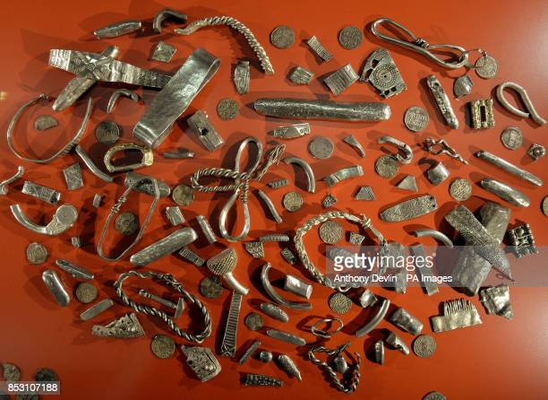 A Viking hoard from Cuerdale Lancashire is displayed at the British Museum in London for the BP exhibition Vikings Life And Legend which opens on...