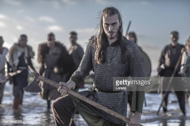 viking in the sea - barbarian stock photos and pictures