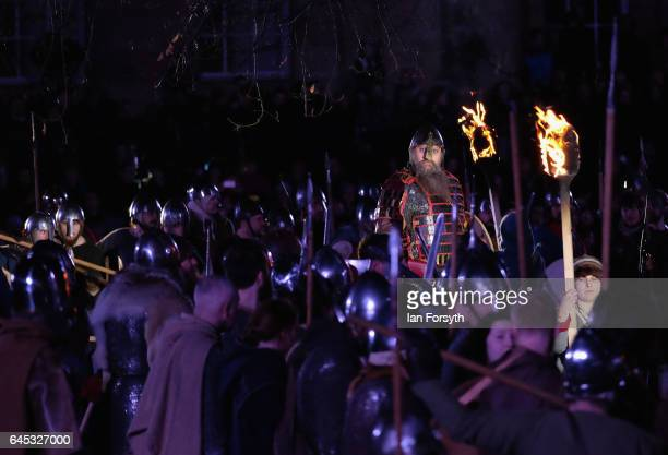 Viking king Eric Bloodaxe addresses his warriors during the finale of a living history display on February 25, 2017 in York, United Kingdom. The...