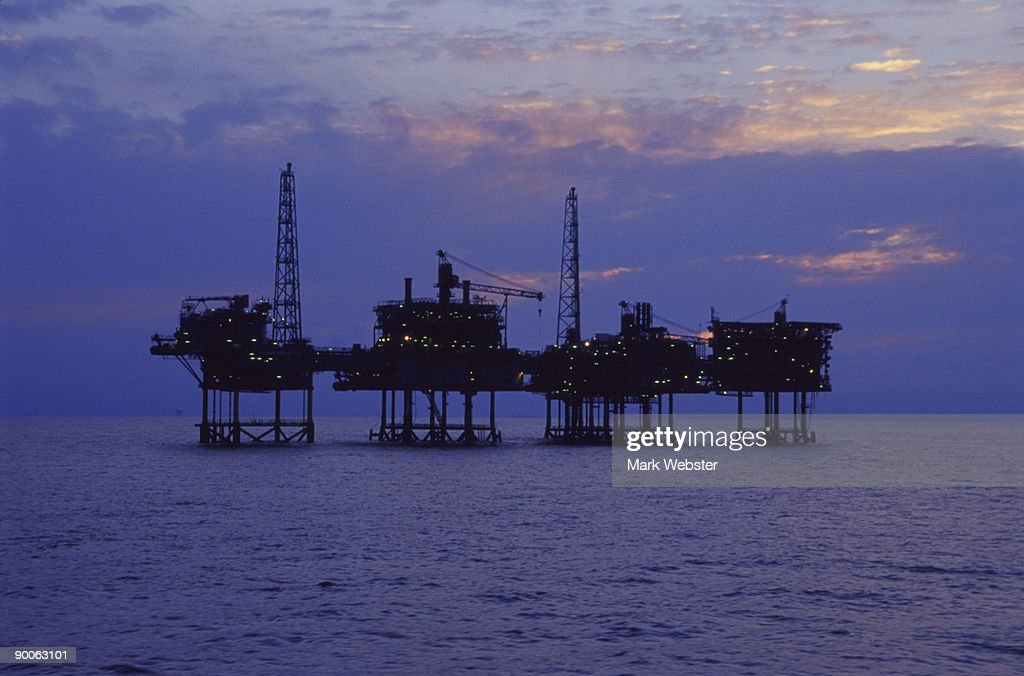 viking loggs gas field platforms : Stock Photo