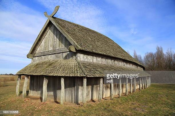 viking longhouse at trelleborg circular fort, denmark - pejft stock pictures, royalty-free photos & images