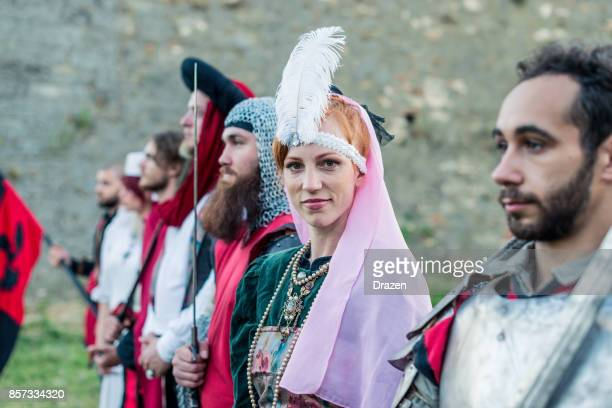 Viking princess and honor guard in medieval times