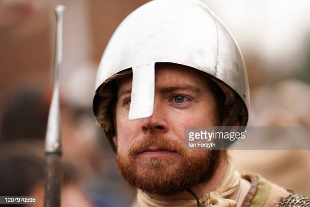 Viking reenactor prepares to march through York during a living history display as part of the 36th York Viking Festival on February 22 2020 in York...
