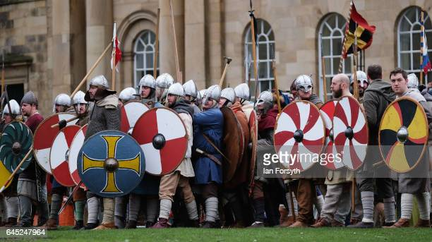 Viking re-enactors battle during a living history display on February 25, 2017 in York, United Kingdom. The battle saw hundreds of Viking warriors...