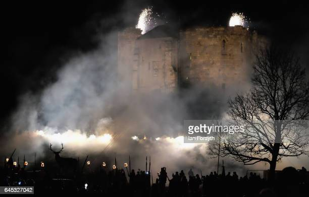 Viking re-enactors celebrate the end of the battle during the finale of a living history display on February 25, 2017 in York, United Kingdom. The...