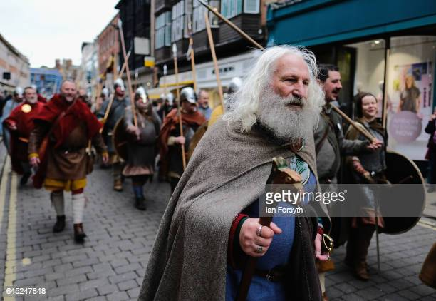 Viking reenactors from Canute's Army march to Coppergate in a show of strength before battle during a living history display on February 25 2017 in...
