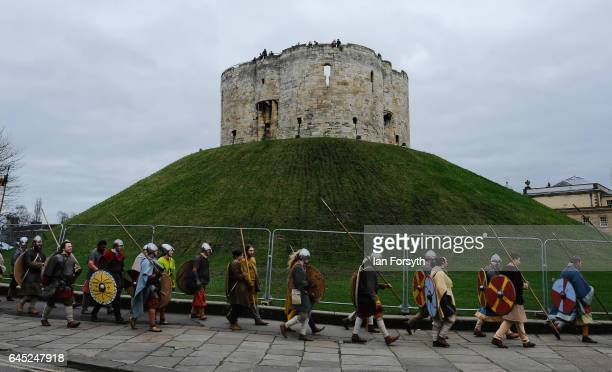 Viking re-enactors from Canute's Army march to Coppergate in a show of strength before battle during a living history display on February 25, 2017 in...