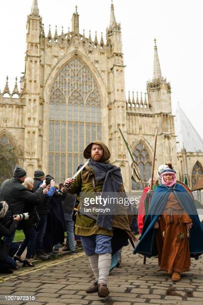 Viking reenactors march through York as part of the 36th York Viking Festival on February 22 2020 in York England The march was the culmination of a...