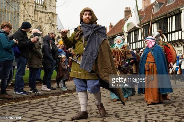 Viking reenactors march through York during the 36th York Viking Festival on February 22 2020 in York England The march was the culmination of a week...
