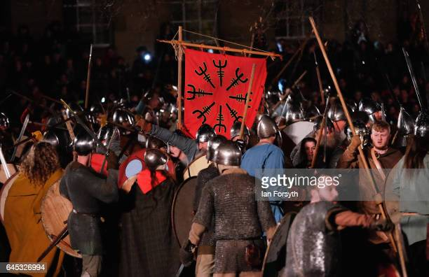 Viking re-enactors meet in battle during the finale of a living history display on February 25, 2017 in York, United Kingdom. The battle saw hundreds...