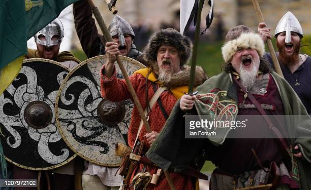 Viking reenactors pose during a photocall as part of the 36th York Viking Festival on February 22 2020 in York England The march was the culmination...
