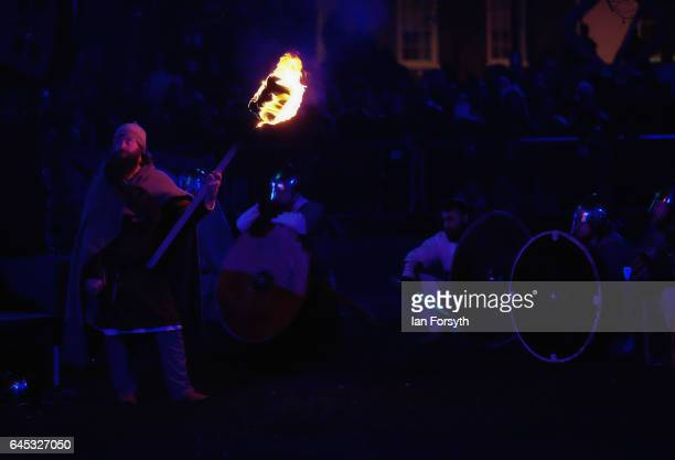 Viking re-enactors prepare for battle during the finale of a living history display on February 25, 2017 in York, United Kingdom. The battle saw...
